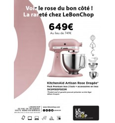 KitchenAid Artisan Rose Dragée - Pack Premium Inox